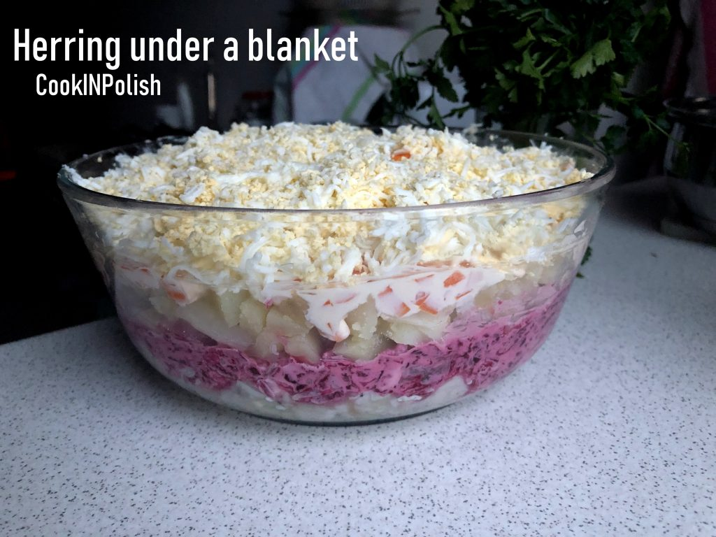 Herring salad in a bowl