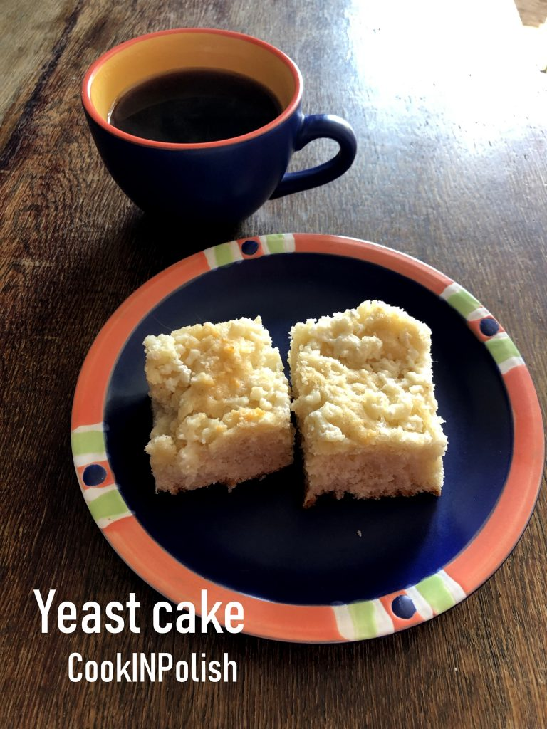 Polish yeast cake served with coffee.