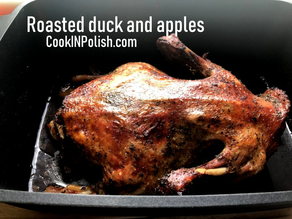 Roast duck and apples in the baking dish.