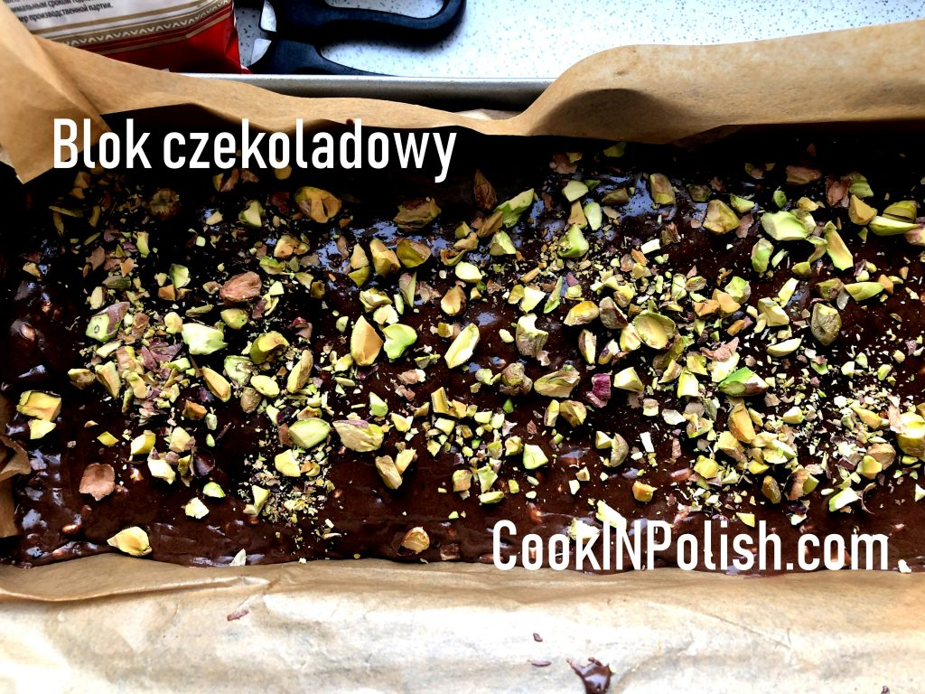 Polish chocolate bar with pistachio in a mold.