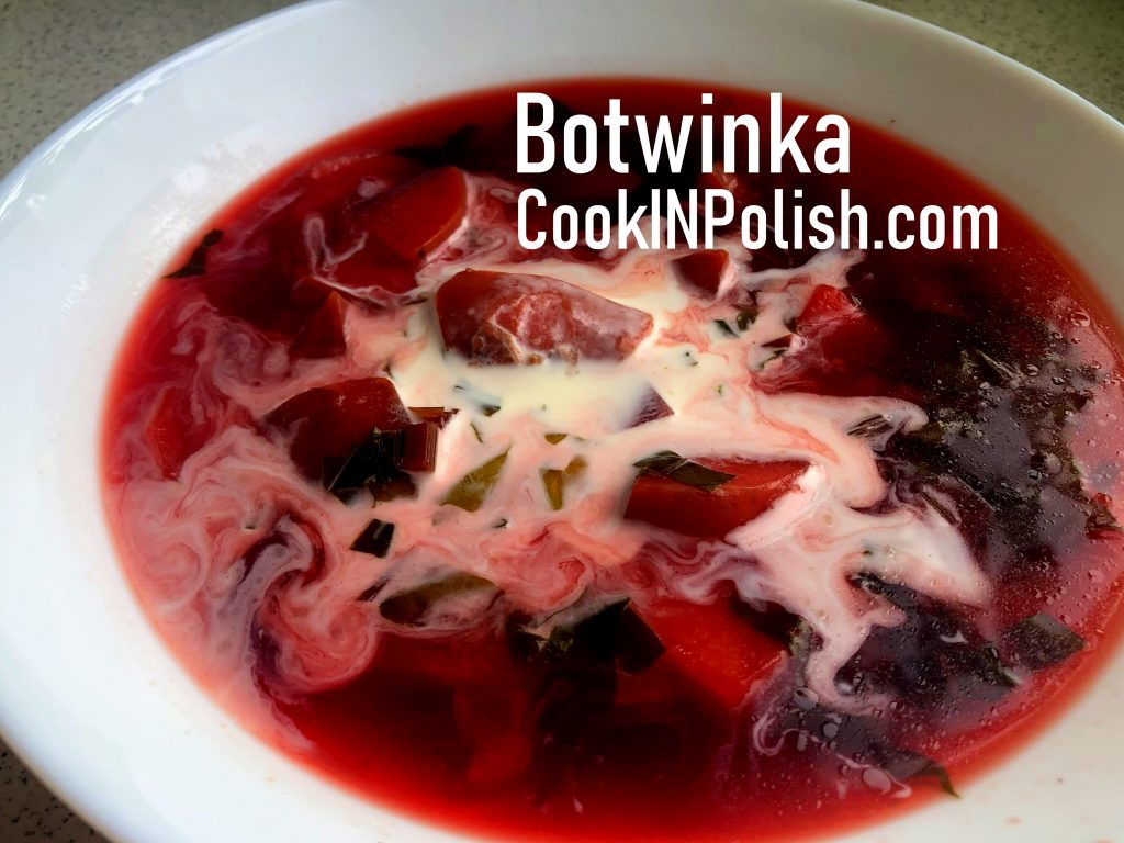 Botwinka young beet leaves soup served with sweet cream