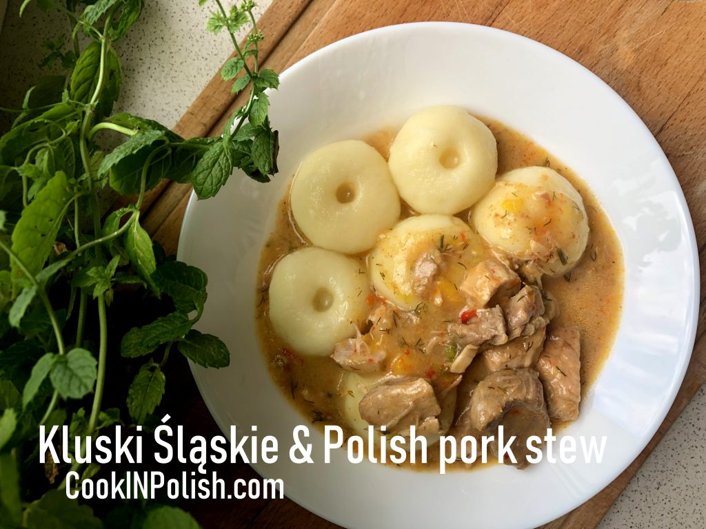 Polish Pork Stew with Silesian Potato Dumplings served on the plate.