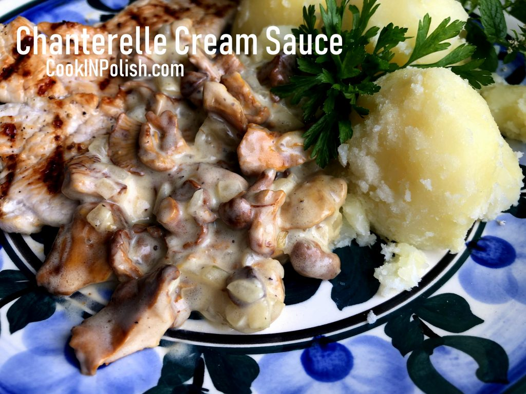 Chanterelle cream sauce on the plate with potatoes and grilled turkey