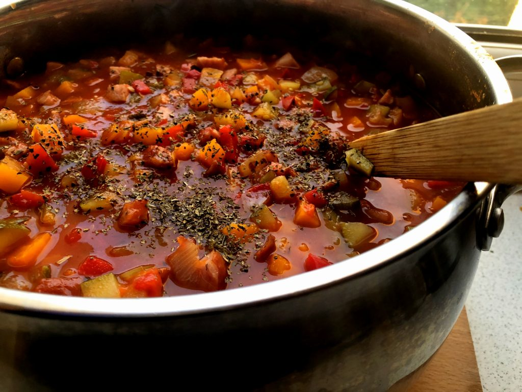 Polish leczo in a big pot with seasonings