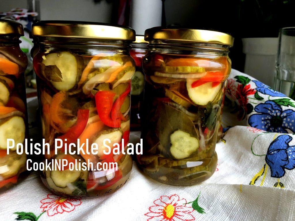 Polish pickle salad in jars.