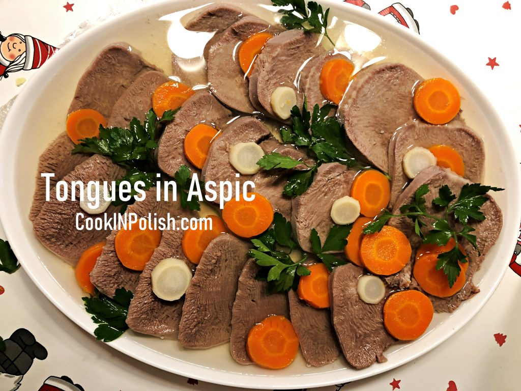 Beef tongues served in aspic