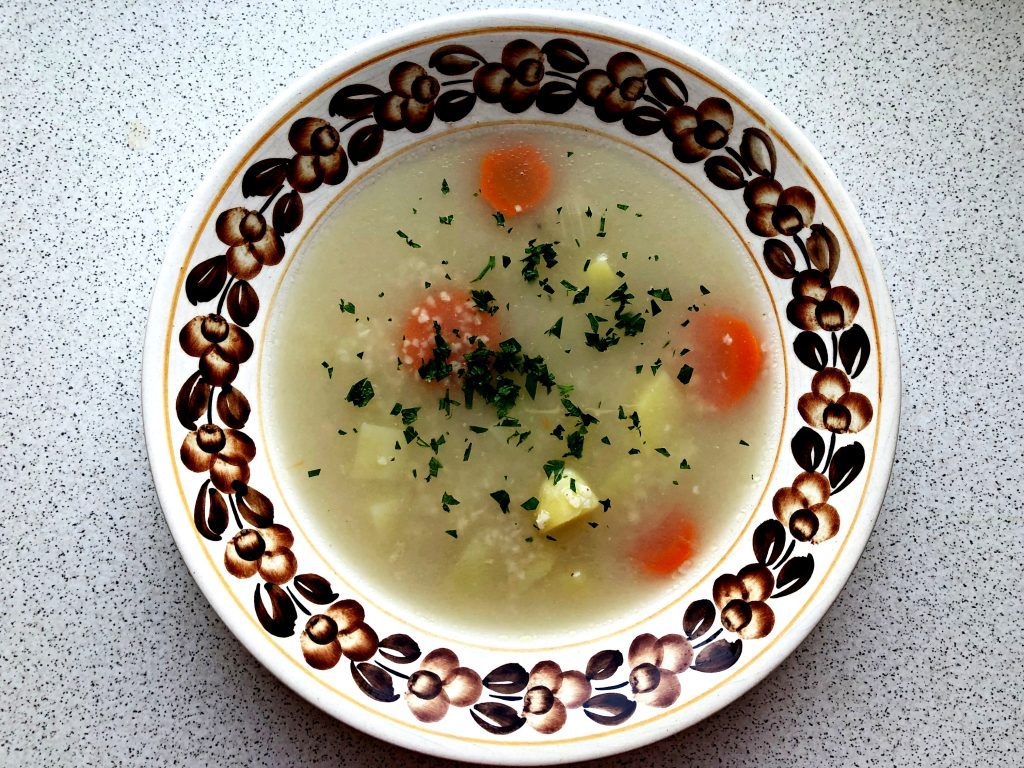 Traditional Polish Soup: Krupnik on a plate