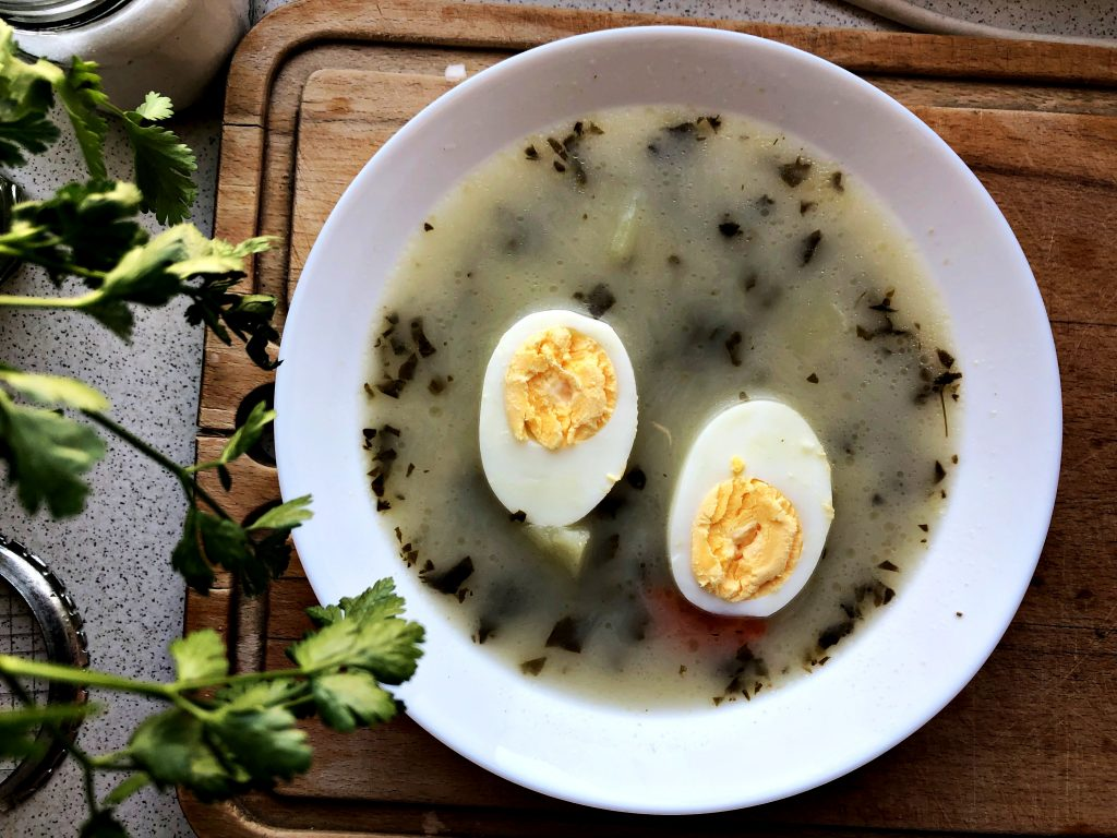 Traditional Polish Soup: Sorrel soup served in a plate
