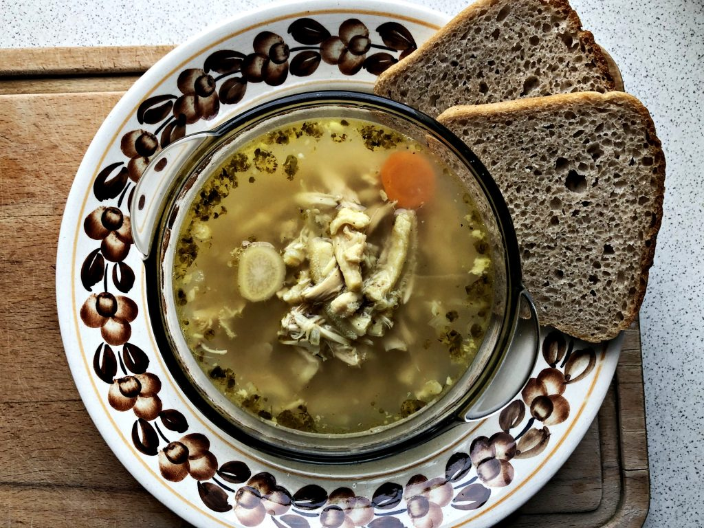 Traditional Polish Soup: Flaki served in a bowl