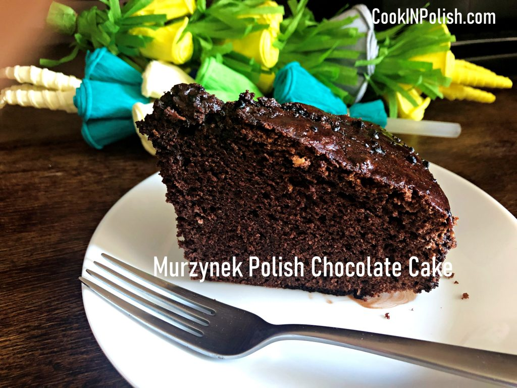 Classic Murzynek Polish Chocolate cake served on a plate.