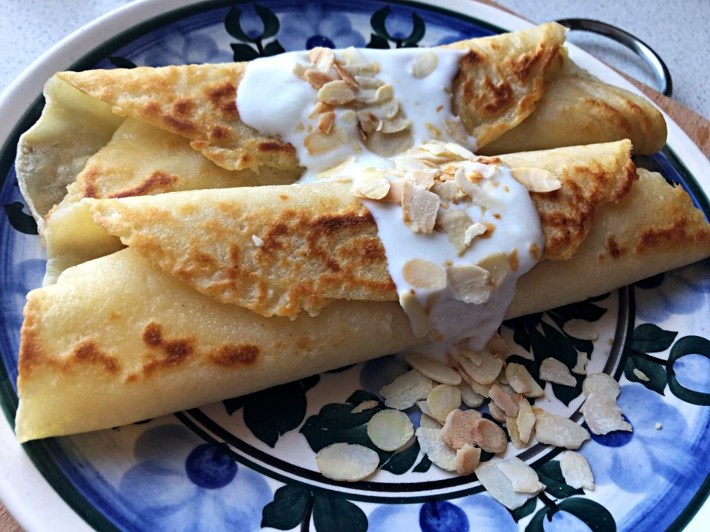 Polish crepes served on the plate
