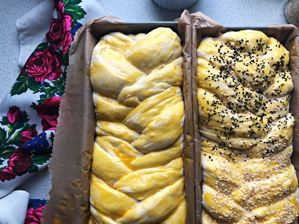 Braided Yeast Eastern Bread before baking