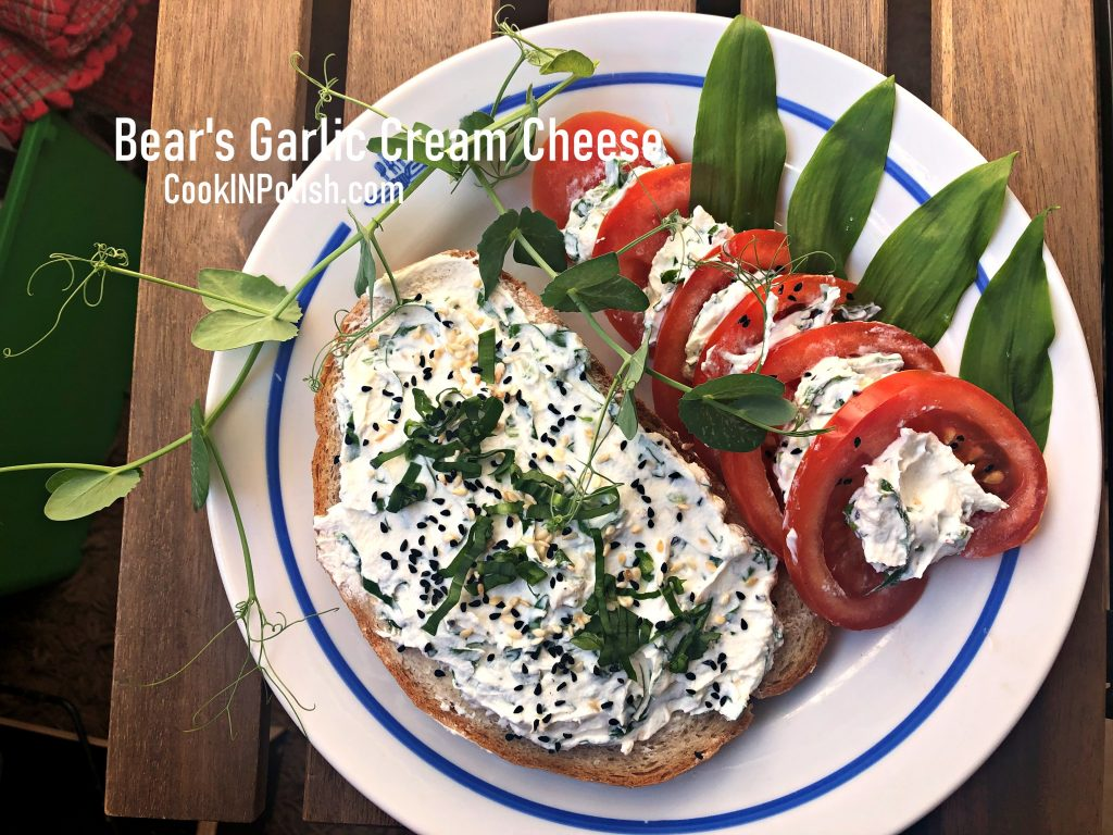 Bear's garlic bread spread served on a bread